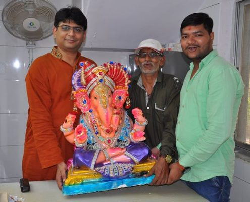 Ganesh Sthapana at Shivamy Tradexim office